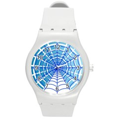 Cobweb Network Points Lines Round Plastic Sport Watch (m)