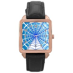 Cobweb Network Points Lines Rose Gold Leather Watch