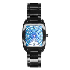 Cobweb Network Points Lines Stainless Steel Barrel Watch