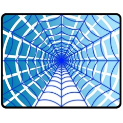 Cobweb Network Points Lines Double Sided Fleece Blanket (medium)