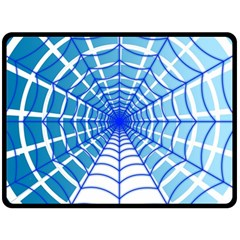 Cobweb Network Points Lines Double Sided Fleece Blanket (large)