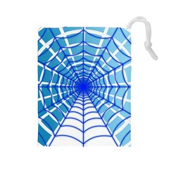 Cobweb Network Points Lines Drawstring Pouches (large)