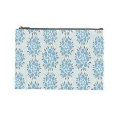 Flower Floral Rose Bird Animals Blue Grey Study Cosmetic Bag (Large)