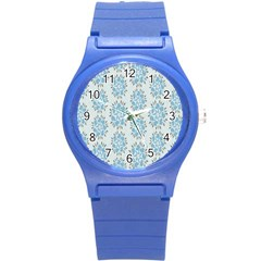 Flower Floral Rose Bird Animals Blue Grey Study Round Plastic Sport Watch (S)