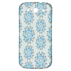 Flower Floral Rose Bird Animals Blue Grey Study Samsung Galaxy S3 S III Classic Hardshell Back Case