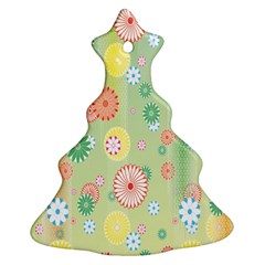 Flower Arrangements Season Pink Yellow Red Rose Sunflower Christmas Tree Ornament (Two Sides)