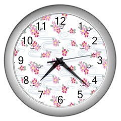 Flower Arrangements Season Sunflower Pink Red Waves Grey Wall Clocks (silver)