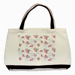Flower Arrangements Season Sunflower Pink Red Waves Grey Basic Tote Bag (Two Sides)