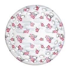 Flower Arrangements Season Sunflower Pink Red Waves Grey Ornament (Round Filigree)