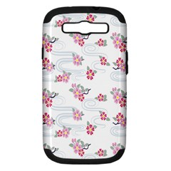 Flower Arrangements Season Sunflower Pink Red Waves Grey Samsung Galaxy S Iii Hardshell Case (pc+silicone)
