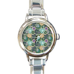 Flower Sunflower Floral Circle Star Color Purple Blue Round Italian Charm Watch