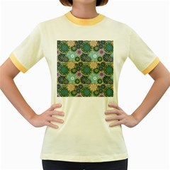 Flower Sunflower Floral Circle Star Color Purple Blue Women s Fitted Ringer T-Shirts