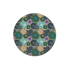 Flower Sunflower Floral Circle Star Color Purple Blue Rubber Round Coaster (4 pack)