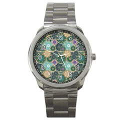 Flower Sunflower Floral Circle Star Color Purple Blue Sport Metal Watch