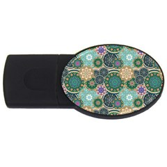 Flower Sunflower Floral Circle Star Color Purple Blue USB Flash Drive Oval (4 GB)