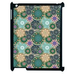 Flower Sunflower Floral Circle Star Color Purple Blue Apple iPad 2 Case (Black)