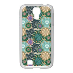 Flower Sunflower Floral Circle Star Color Purple Blue Samsung Galaxy S4 I9500/ I9505 Case (white)