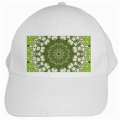 Mandala Center Strength Motivation White Cap