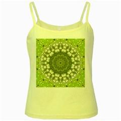 Mandala Center Strength Motivation Yellow Spaghetti Tank