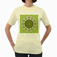 Mandala Center Strength Motivation Women s Yellow T Shirt