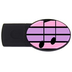 Music Gender Pride Note Flag Blue Pink Purple USB Flash Drive Oval (4 GB)