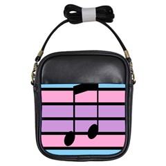Music Gender Pride Note Flag Blue Pink Purple Girls Sling Bags