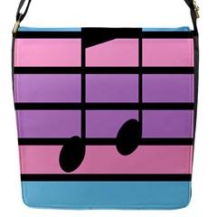 Music Gender Pride Note Flag Blue Pink Purple Flap Messenger Bag (S)