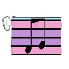 Music Gender Pride Note Flag Blue Pink Purple Canvas Cosmetic Bag (L)