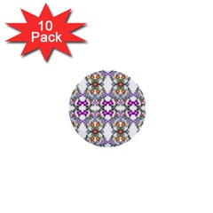 Floral Ornament Baby Girl Design 1  Mini Buttons (10 Pack)