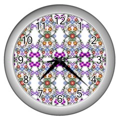 Floral Ornament Baby Girl Design Wall Clocks (Silver)