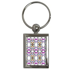 Floral Ornament Baby Girl Design Key Chains (rectangle)