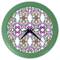 Floral Ornament Baby Girl Design Color Wall Clocks