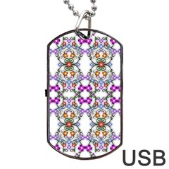 Floral Ornament Baby Girl Design Dog Tag Usb Flash (one Side)