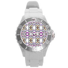 Floral Ornament Baby Girl Design Round Plastic Sport Watch (l)