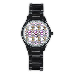 Floral Ornament Baby Girl Design Stainless Steel Round Watch