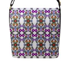 Floral Ornament Baby Girl Design Flap Messenger Bag (l)