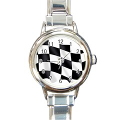 Flag Chess Corse Race Auto Road Round Italian Charm Watch