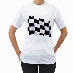 Flag Chess Corse Race Auto Road Women s T-Shirt (White) (Two Sided)