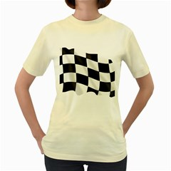 Flag Chess Corse Race Auto Road Women s Yellow T-Shirt