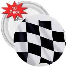Flag Chess Corse Race Auto Road 3  Buttons (10 Pack)