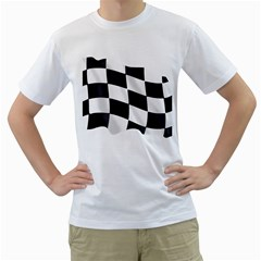 Flag Chess Corse Race Auto Road Men s T Shirt (white) (two Sided)