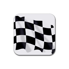 Flag Chess Corse Race Auto Road Rubber Square Coaster (4 Pack)