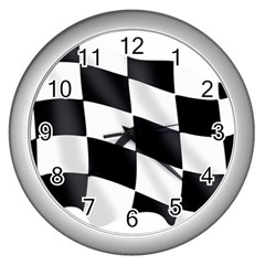 Flag Chess Corse Race Auto Road Wall Clocks (Silver)