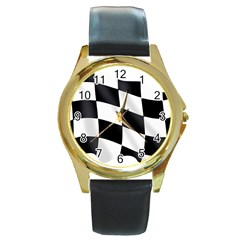 Flag Chess Corse Race Auto Road Round Gold Metal Watch