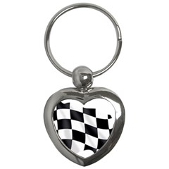 Flag Chess Corse Race Auto Road Key Chains (Heart)