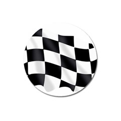 Flag Chess Corse Race Auto Road Magnet 3  (round)