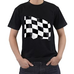 Flag Chess Corse Race Auto Road Men s T Shirt (black) (two Sided)