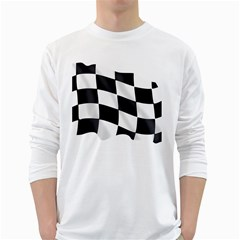 Flag Chess Corse Race Auto Road White Long Sleeve T Shirts