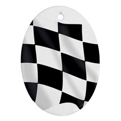 Flag Chess Corse Race Auto Road Oval Ornament (two Sides)
