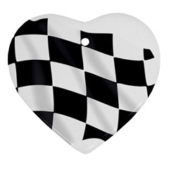 Flag Chess Corse Race Auto Road Heart Ornament (two Sides)
